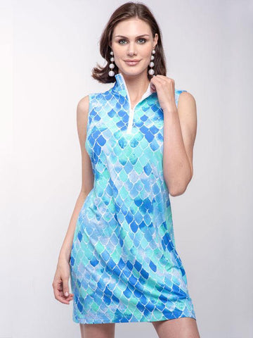 Ibkul Arial Print Sleeveless Zip Mock Neck Dress