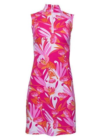 Ibkul Caroline Print Sleeveless sZip Mock Neck Dress