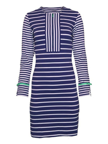 IBKUL Stripe Nautical Zip Front Dress