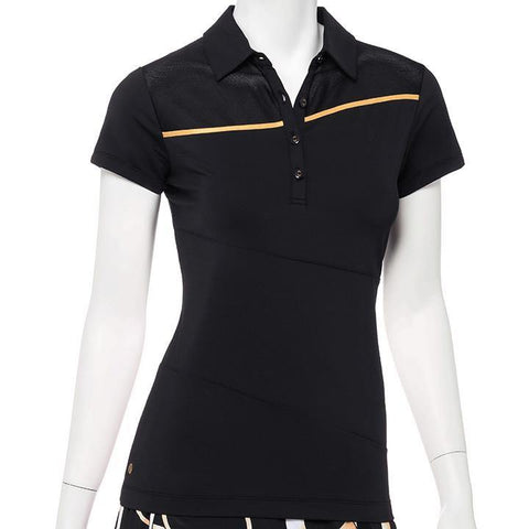 EP Pro Wild Card Black Cap Sleeve Polo - Gals on and off the Green