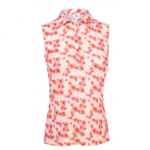 Daily Sports Coral Bloom Tori Mesh Sleeveless Polo