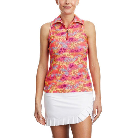 Tzu Tzu Allie Dizzy Print Sleeveless Polo - Gals on and off the Green
