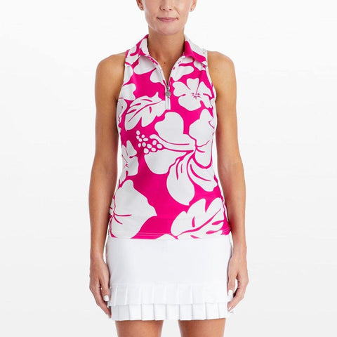 Tzu Tzu Allie Maui Wowi Print Sleeveless Polo - Gals on and off the Green