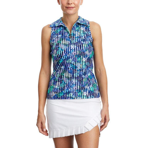 Tzu Tzu Allie Misty Morning Print Sleeveless Polo