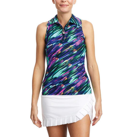 Tzu Tzu Allie Northern Lights Print Sleeveless Polo - Gals on and off the Green