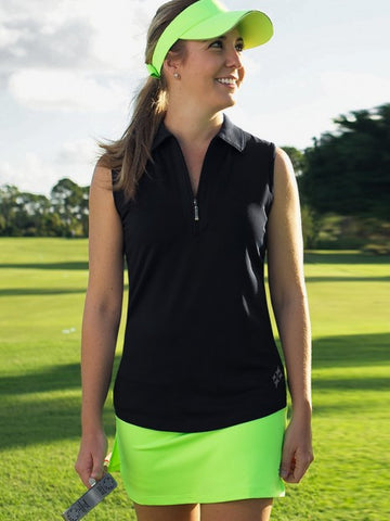 JoFit Jacquard Performance Sleeveless Zip Polo