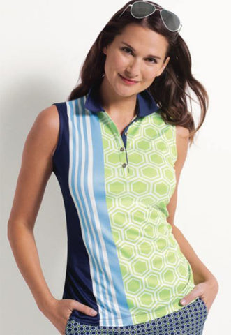 EP Pro Good Sport Geo Sleeveless Polo - Gals on and off the Green