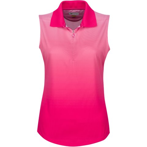 Greg Norman Pretty In Pink Zip Sleeveless Ombre Polo