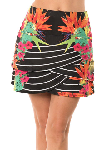 Lucky in Love Paradise Stripe Scallop Skort