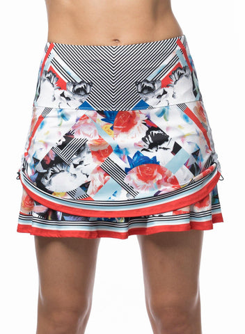 Lucky In Love Bloomy Dimensions Ruched Tier Skort Short