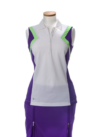 EP Sport Prismatic Geometry Color Blocked Sleeveless Polo