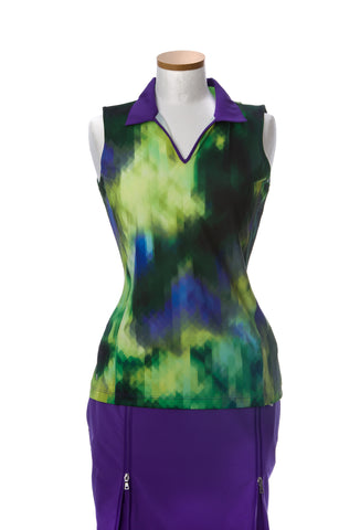 EP Sport Prismatic ROYGBIV Sleeveless V Neck Polo