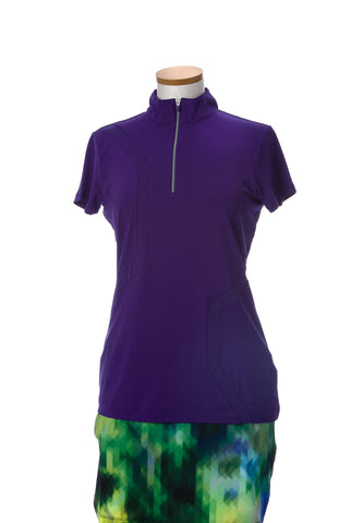 EP Sport Prismatic Ultra Short Sleeved Zip Mock Neck Polo