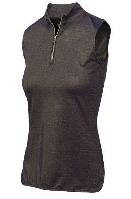 Greg Norman Glitz Sleeveless Lurex Zip Polo
