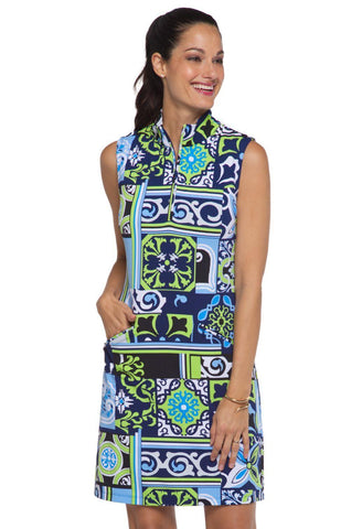 IBKUL Jacklin Sleeveless Dress Navy Lime
