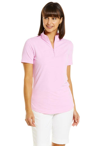 IBKUL Short Sleeve Mock Candy Pink