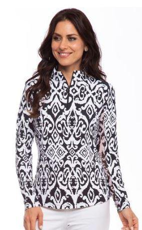 IBKUL Doreen Print Long Sleeve Zip Polo