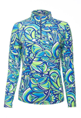 IBKUL Jackie Print Blue Long Sleeve Mock