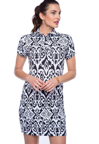 IBKUL Dorren Print Black & White Short Sleeve Dress