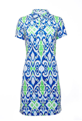 IBKUL Doreen Print Blue Short Sleeve Polo Dress