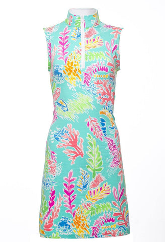 IBKUL Jackie Print Sleeveless Seafoam Mock Neck Dress
