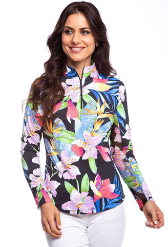 IBKUL Rio Print Long Sleeve Mock Neck