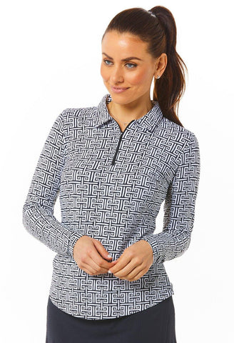 IBKUL Geo Key Print Long Sleeve Polo
