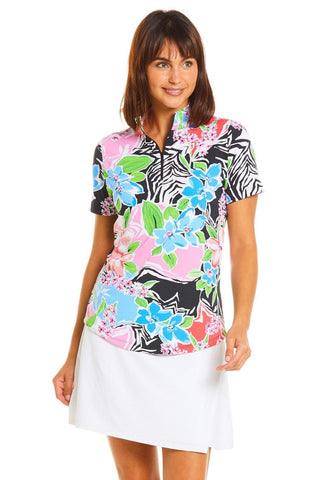 IBKUL Amelia Print Short Sleeve Mock Neck (Multiple Colors)
