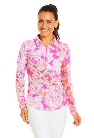 IBKUL Pascha Print Long Sleeve Polo (Multiple Colors)