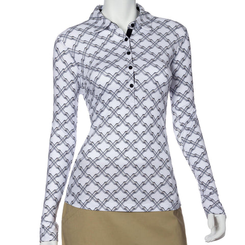 EP Pro Gold Standard Ribbon Lattice Long Sleeve Polo