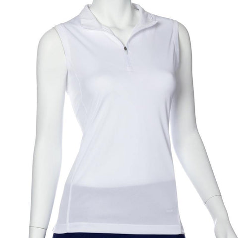 EP Pro Essential White Sleeveless Convertible Zip Collar Polo
