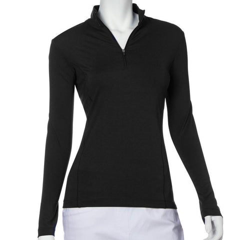 EP Pro Essential Long Sleeve Zip Mock Neck Polo - Gals on and off the Green