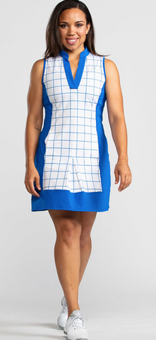 KINONA Kick Pleat Chic Windowpane Golf Dress