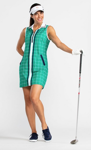 KINONA Prepped to Par Windowpane Sleeveless Golf Dress