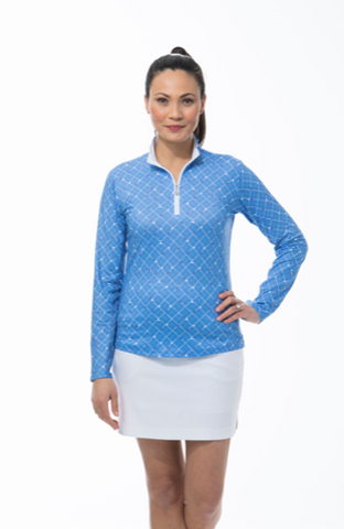 SanSoleil SolCool Zip Mock Tee Box - Gals on and off the Green