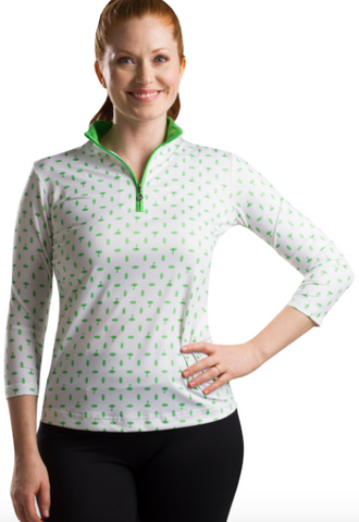 SolCool 3/4 Sleeve Deauville Green Zip Mock