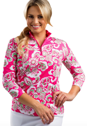 SolCool 3/4 Sleeve Piper Pink Paisley Zip Mock