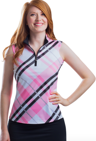 SolCool Sleeveless Highlands Pink Zip Mock