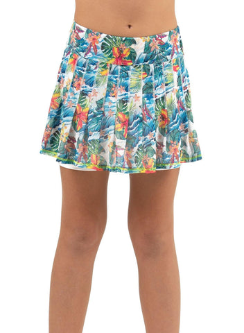 Lucky in Love Junior's Meshing Around Tropicalia Pleated Skort - Gals on and off the Green
