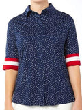 Belyn Key Oxford Keystone Half Sleeve Print