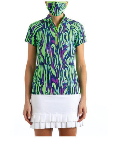 Tzu Tzu Lucy Wild Print Short Sleeve Polo - Gals on and off the Green
