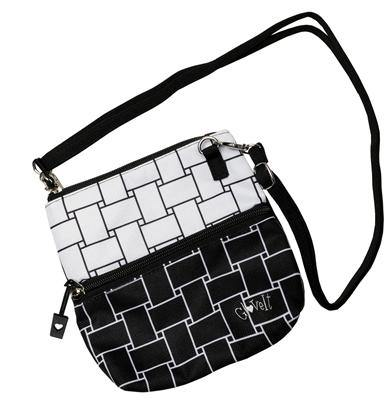 GloveIt Black & White Basketweave 2-Zip Pouch