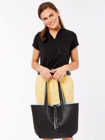 Belyn Key Black/Blue Keystone Tote