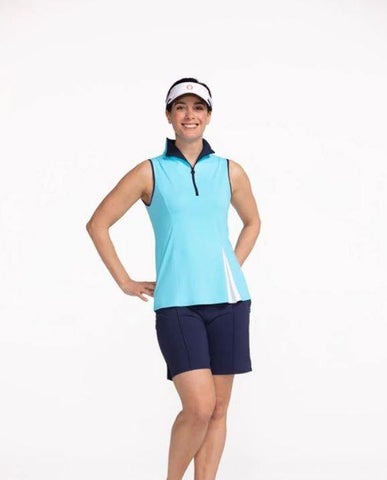 Kinona Kihei Peakaboo Pleat Sleeveless Golf Top