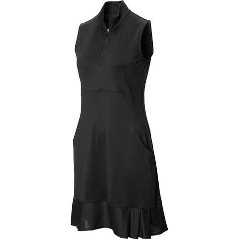 EP Pro Basic Sleeveless Mock Neck Pleated Hem Dress