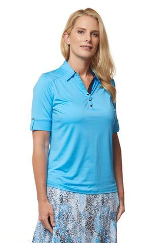 Sport Haley Capri Blu Elbow Sleeve Solid Polo - Gals on and off the Green
