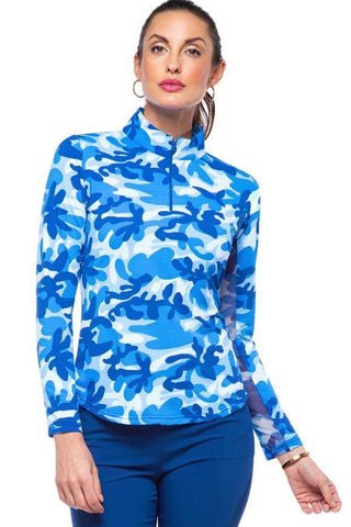 IBKUL Camo Long Sleeve Mock Neck Polo