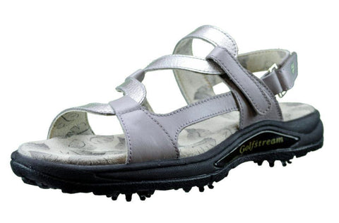 Greenleaf (formerly Golfstream) Gray & Crystal Silver Spiked Ladies Golf Sandal