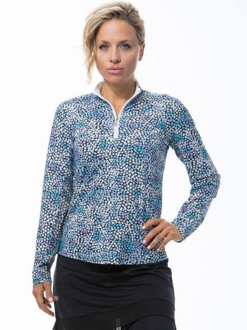 SanSoleil SolCool Long Sleeve Forget Me Knot Polo (Blue)