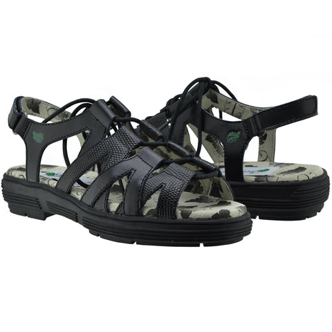 Greenleaf (formerly Golfstream) Black (Faux Lizard) Lace-Up Strappy Ladies Golf Sandal